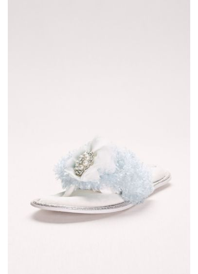 Pretty You London Blue (Embellished Faux-Fur Thong Slippers)