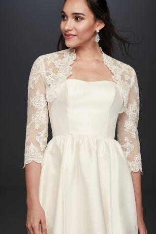 Beaded Lace 34 Sleeve Jacket Davids Bridal