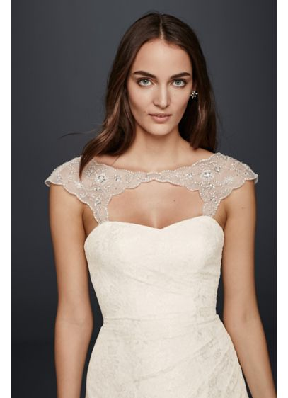 David's Bridal Ivory (Beaded Tulle Cap Sleeve Topper)