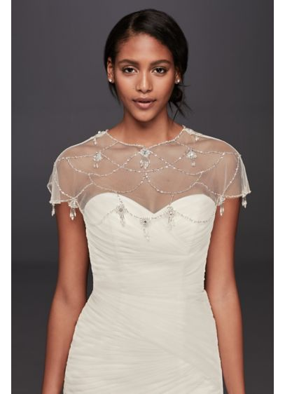David's Bridal Ivory (Chandelier Bead Dress Topper)