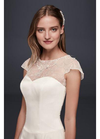 David's Bridal Ivory (Beaded Flutter Sleeve Dress Topper)