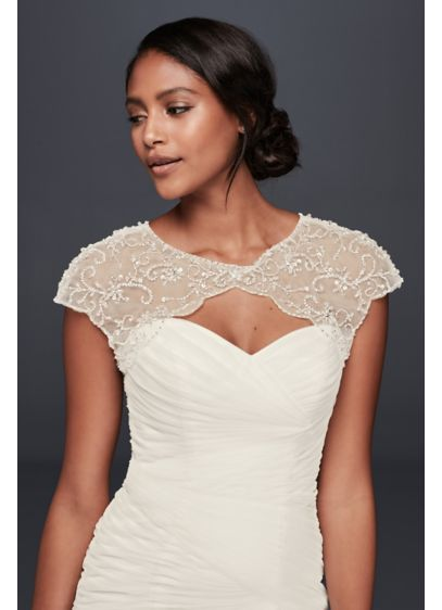 Floral-Beaded Scalloped Dress Topper - Wedding Accessories