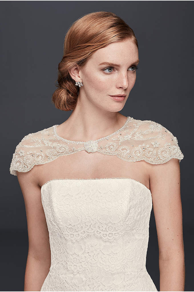 Floral Filigree Beaded Dress Topper - Beaded swags scallop the edges of this delicate