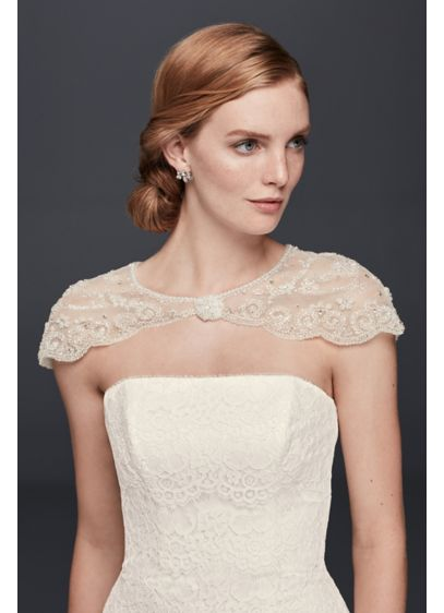 David's Bridal Ivory (Floral Filigree Beaded Dress Topper)