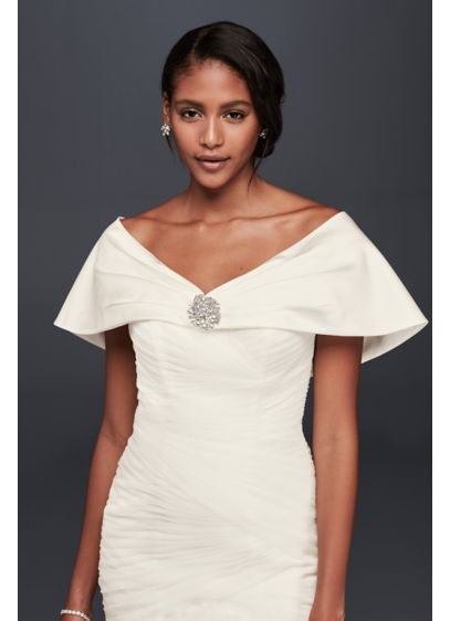 Pleated Satin Wrap with Brooch - Wedding Accessories