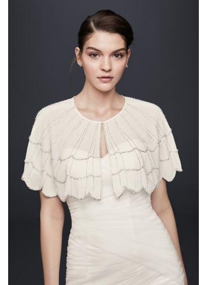 Scalloped Chiffon Capelet with Beading - Wedding Accessories