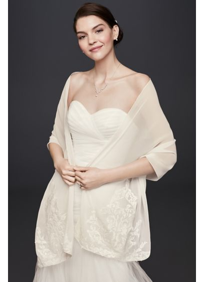 Lace Placement Chiffon Wrap - Wedding Accessories