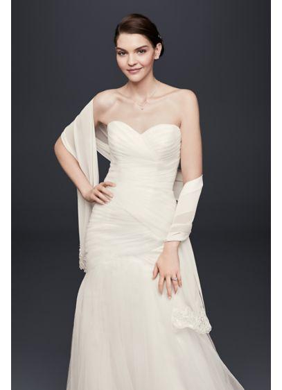 David's Bridal White (Floral Beaded Chiffon Wrap)