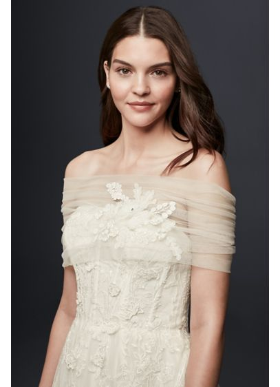 Pleated Tulle Off-the-Shoulder Wrap with Flowers - Wedding Accessories