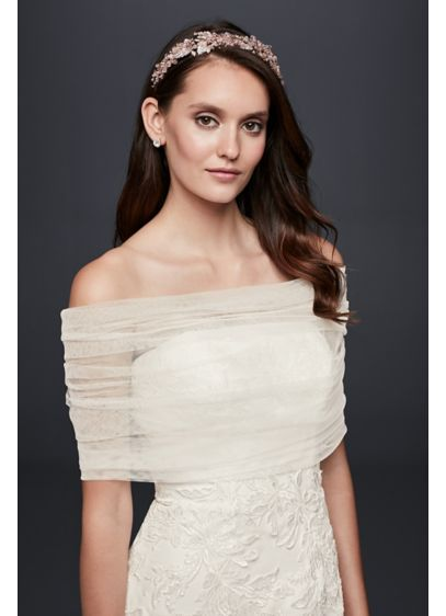 David's Bridal Ivory (Pleated Tulle Off-the-Shoulder Wrap)