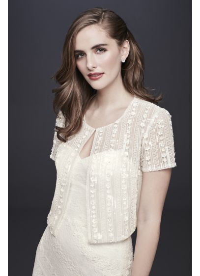 David's Bridal Ivory (Short-Sleeve Tulle Jacket with Floral Beading)