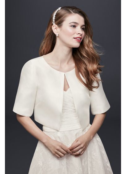 David's Bridal Ivory (Mikado Jacket with Elbow-Length Sleeves)