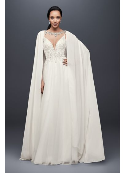 Long Chiffon Cape with Beaded Neckline - This trailing chiffon cape delivers dramatic flair, with