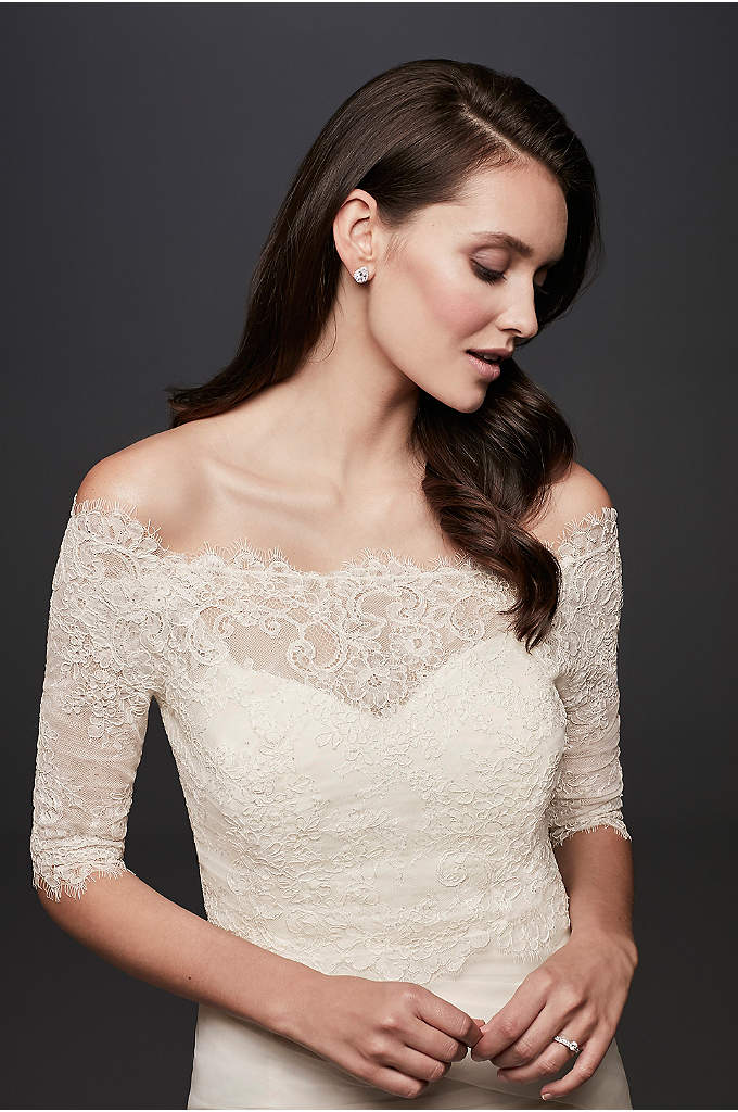 Off-the-Shoulder Lace Topper with 3/4 Sleeve - Layer this off-the-shoulder lace topper over your strapless