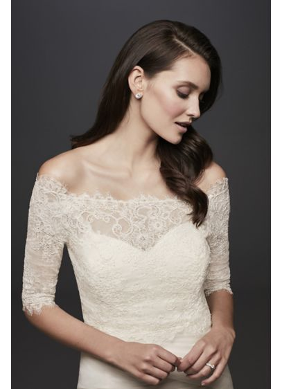 Off-the-Shoulder Lace Topper with 3/4 Sleeve - Wedding Accessories