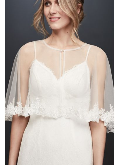 Tulle Cape with Beaded Lace Applique Trim - Wedding Accessories