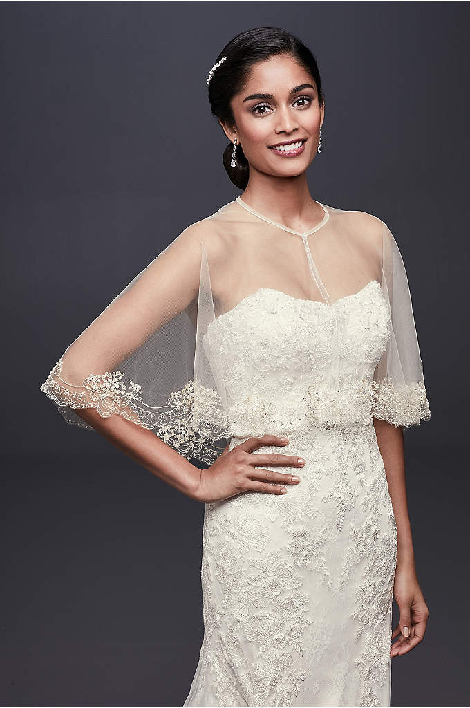 Scalloped Tulle Capelet with Pearls and Sequins - Adorned with sequins, pearls, and metallic embroidery, this