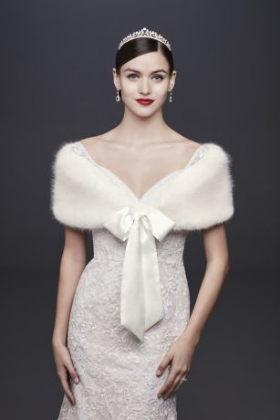 f67d29f07ea Faux-Fur Wrap with Satin Ribbon Tie - Wedding Accessories. Save