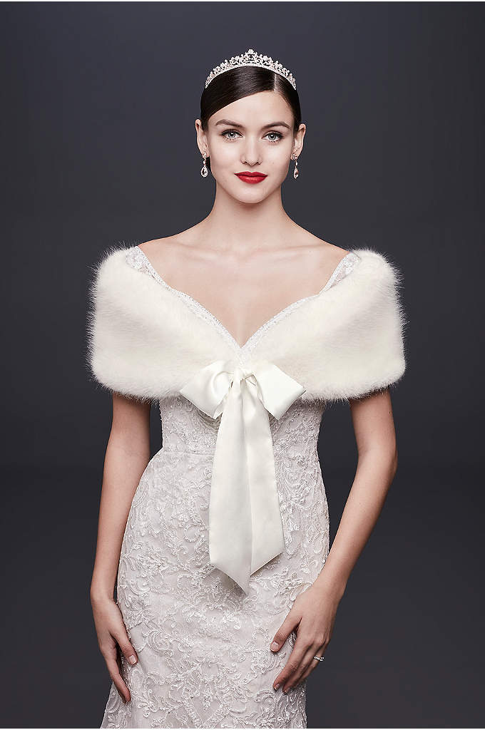 Faux-Fur Wrap with Satin Ribbon Tie - This plush faux-fur wrap will ensure you are