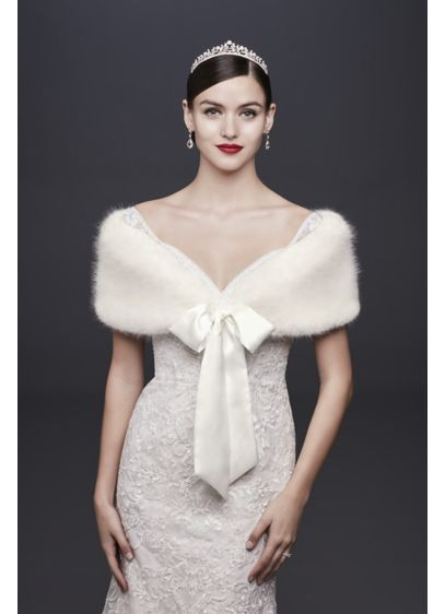 Faux-Fur Wrap with Satin Ribbon Tie - Wedding Accessories