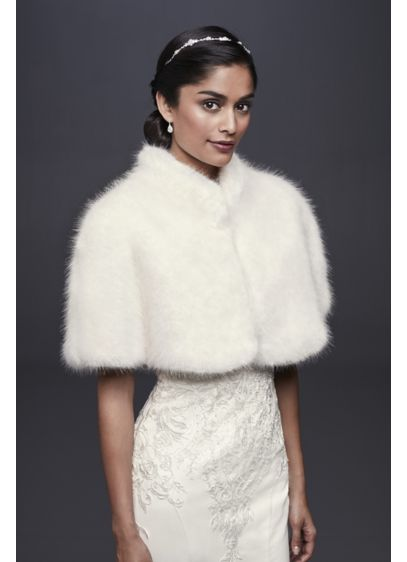 Faux-Fur Mock Neck Capelet - A vintage-inspired capelet, crafted of faux-fur and finished