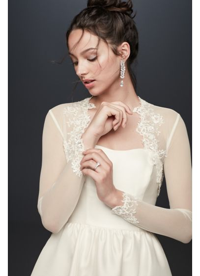 David's Bridal Ivory (Beaded Lace and Tulle Long Sleeve Jacket)