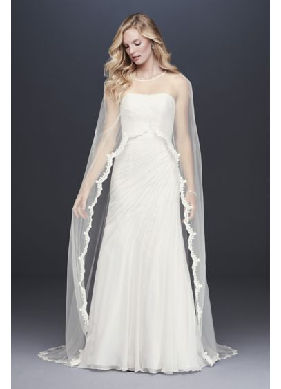 Lace-Trimmed High-Low Tulle Cape - An elegant overlayer for a strapless, sleeveless, or