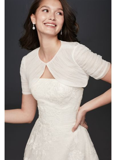 Pleated Tulle Cap Sleeve Bolero - This short sleeve bolero, with folds of tulle
