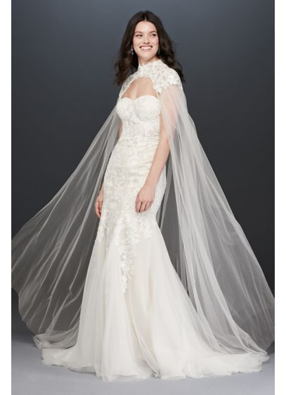 David's Bridal Ivory (Long Tulle Cape with High-Neck Lace Detail)
