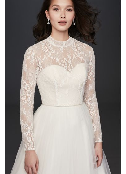 Long Sleeve Lace Mock-Neck Wedding Dress Topper - Add a touch of elegant coverage to your
