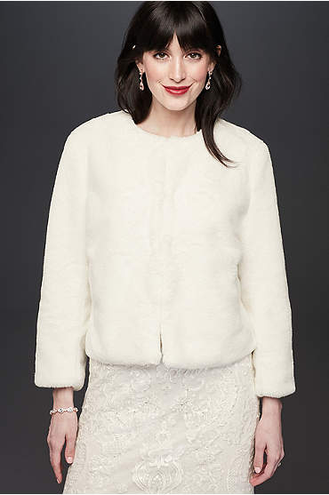 Faux-Fur 3/4 Sleeve Open Front Cropped Jacket