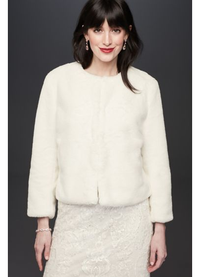 Faux-Fur 3/4 Sleeve Open Front Cropped Jacket - You'll feel glam (and toasty!) in this 3/4-sleeve