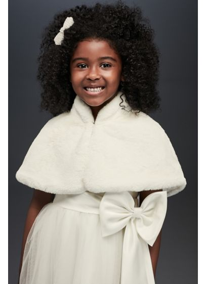 Faux-Fur Draped Capelet with Collar - This faux-fur capelet, lined with satin and finished