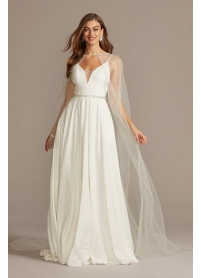 Tulle Cape with Scattered Crystal Embellishment - Top your wedding dress with this romantic tulle