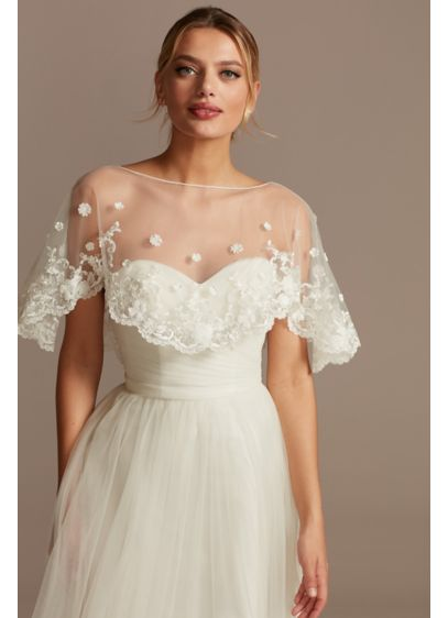 Scalloped Punch Flower Applique Tulle Capelet - Adorned with 3D punch flower appliques, this lace-trimmed