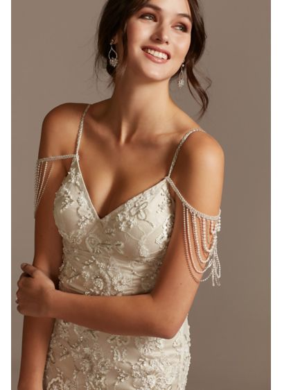 Pearl Crystal and Bead Detachable Spaghetti Straps - Give any strapless or spaghetti strap dress a
