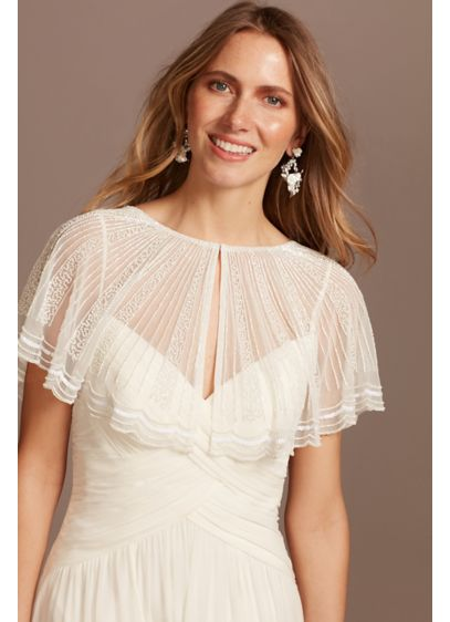 Linear Beaded Mesh Capelet with Scalloped Edge - Wedding Accessories