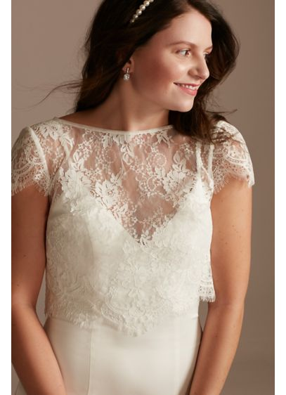 Cap Sleeve Eyelash-Trimmed Lace Topper with Tie - Crafted of airy lace and finished with eyelash