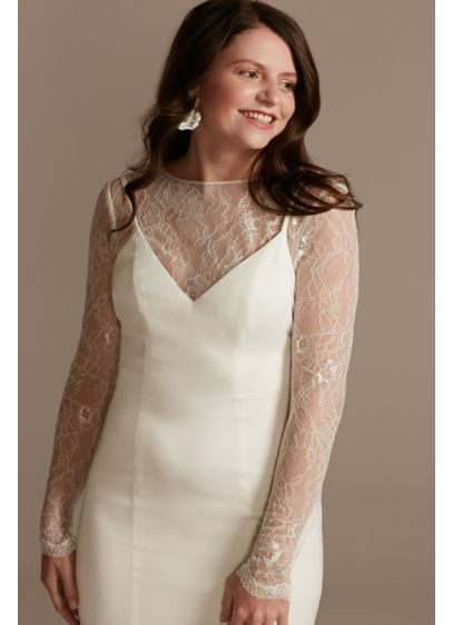 Long Sleeve Button-Back Lace Topper - Wedding Accessories
