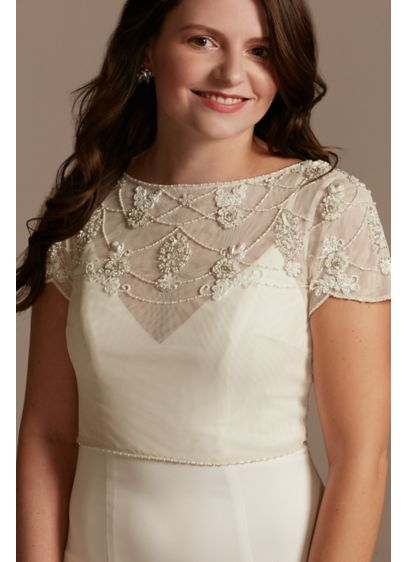 Short Sleeve Hand-Beaded Tulle Topper - Hand-beaded in a beautiful floral motif, this tulle