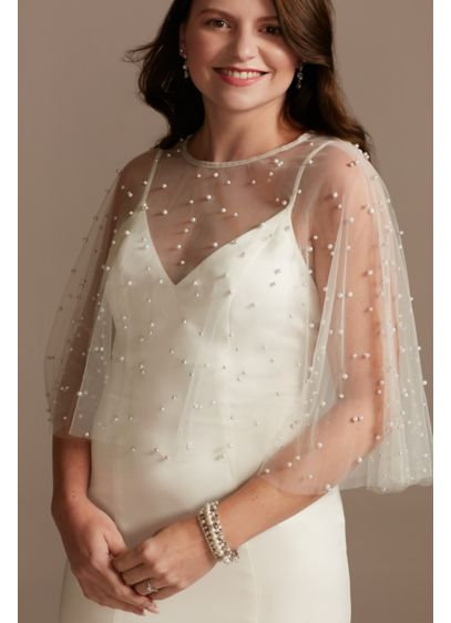 Pearl-Encrusted Tulle Capelet with Pearl Button - Drape this dreamy pearl-encrusted capelet over your wedding