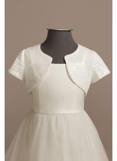Short Sleeve Sequin Flower Girl Jacket - Wedding Accessories