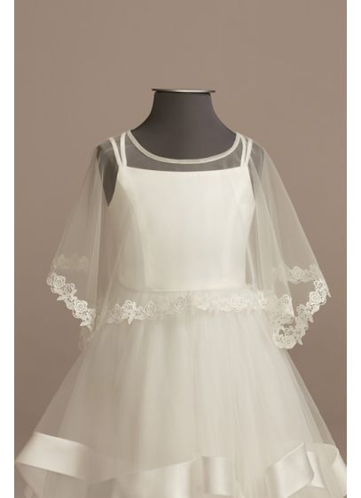 Tulle Flower Girl Capelet with Lace Trim - Wedding Accessories