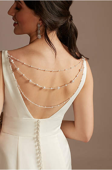 Faux Pearl Detachable Layered Dress Chain