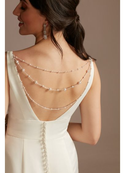 Faux Pearl Detachable Layered Dress Chain - Add a little luster to open or low
