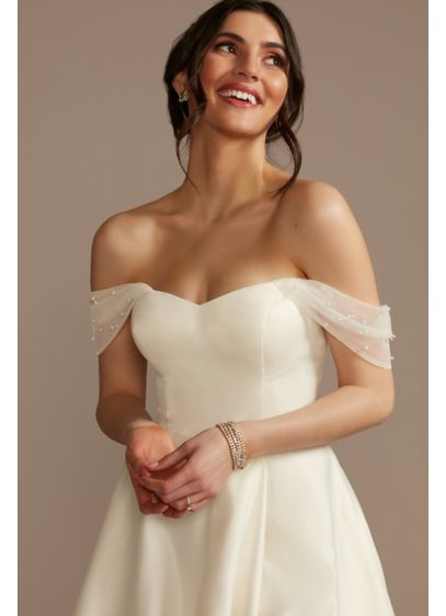 Faux Pearl Tulle Detachable Swag Sleeves - Adorned with lustrous faux pearls, these detachable tulle