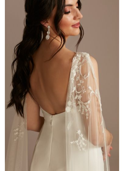 Beaded Lace Applique Tulle Streamer Sleeves - Adorned with beads and lace appliques, these detachable