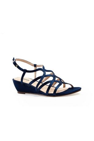 Pink Paradox Blue;Grey;Yellow (Opulent Crisscross Strappy Low Wedge Sandals)