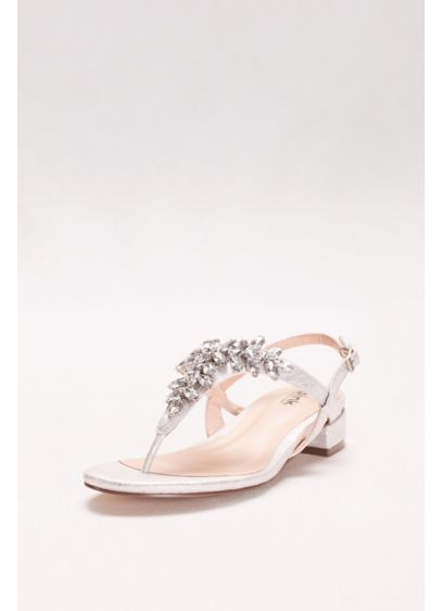 Pink Paradox Grey (Flame Glitter Thong Sandals with Low Block Heel)