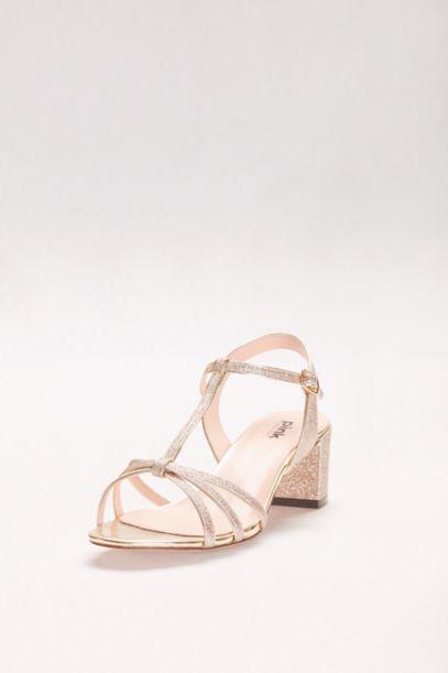 Sadie Glitter Block Heel T Strap Sandals David S Bridal